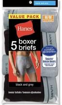 Hanes Men's Boxer Briefs Medium Black Gray Comfort Soft Value Pack 5 Tag... - $19.39
