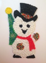"""Snowman Popcorn Wall Decor Melted Plastic White Red Green 18"""" Tall - $12.65"""