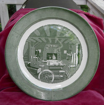 "ROYAL CHINA COLONIAL HOMESTEAD ROUND CHOP PLATE PLATTER 13 1/4"" GREEN VI... - $21.03"