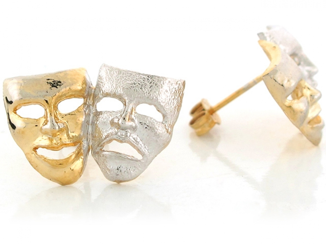 10K or 14K Two Tone Gold Drama Face Theater Actor Mask Stud Earrings