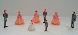 vintage plastic bridal party cake toppers lot - $21.73