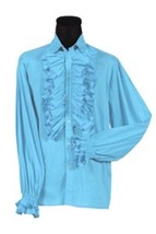 70's  Prom Shirt - Frilled Front and Cuffs - Turquoise -  Deluxe Cotton - $37.20