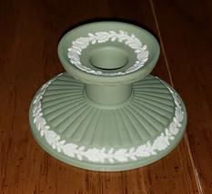 Wedgwood Jasperware Green Fluted Candlestick Holder Beautiful - $14.99