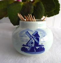 Toothpick Delft Delfts Blauw Small Vase Windmill Vintage Dutch Holland 1970s  - $14.00