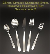 25pcs - New Modern, Stylish & Classic Stainless Steel Flatware Set for 5 - $32.76