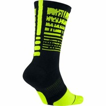 Nike Unisex Elite Pulse Basketball Crew Black/Yellow Socks Size M 6-8 SX... - $15.99