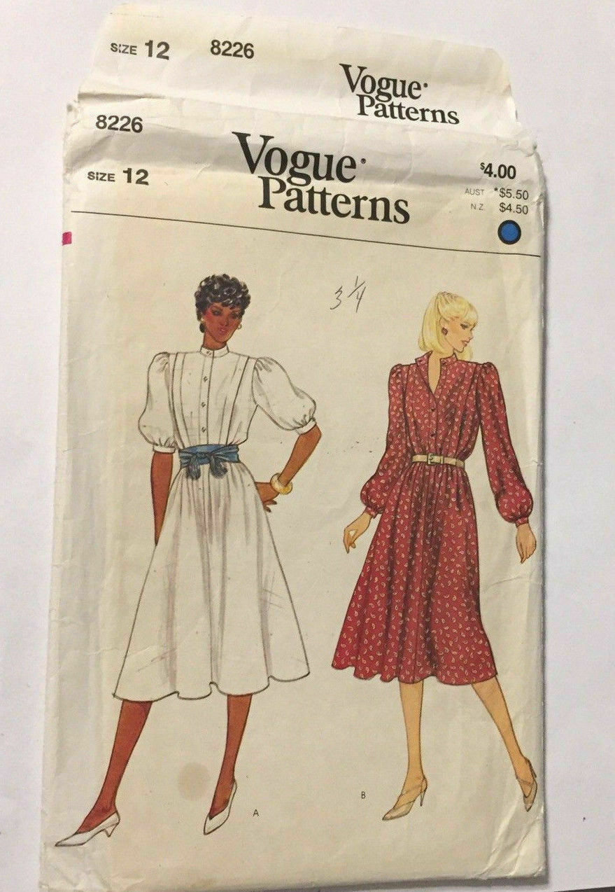 Primary image for Vogue 8226 Misses Dress Size 12 (Bust 34) Vintage Uncut Sewing Pattern 1980's