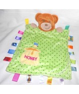 Taggies Honey Bear Baby Security Blanket Green Polka Dot Lovey Ribbon Loops - $16.06