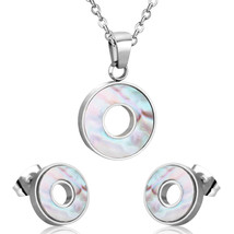 LUXUSTEEL Necklace Set Hollow Out Shell Pendant Necklace Earring Sets Hi... - $16.38