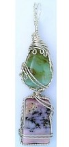 Pink Blue Opal Silver Wire Wrap Pendant 3 - $34.00