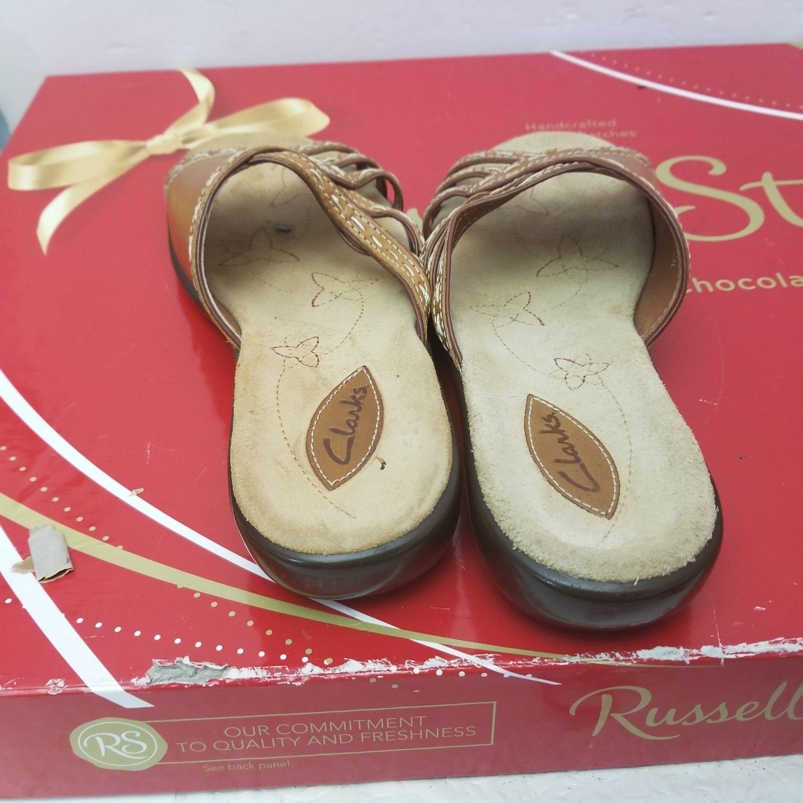 CLARKS Women's Brown Stitch Trim Leather Comfort Slides Sandals #75273  Sz 8 M