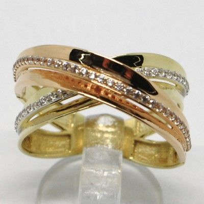 18K YELLOW & ROSE GOLD BAND RING FINELY TWISTED WOVEN, ZIRCONIA, MADE IN ITALY