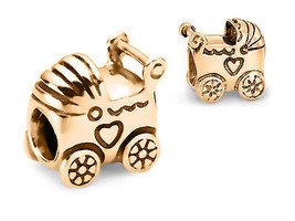 9ct SOLID GOLD Baby Carriage Stroller Pram Fits EURO BRACELETS Charm Bead - $155.93