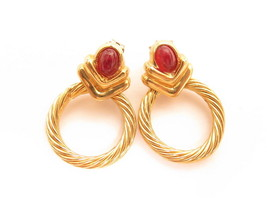 Vintage ESPO Yellow Gold Plated Red Cabochons Celtic Cable Circle Earrin... - $17.82