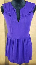 Deletta Anthropologie women M sleeveless ruffled purple - $18.81