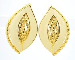 VTG CROWN TRIFARI 1970s Gold Tone Ivory Colored Enamel Clip Earrings - $29.70