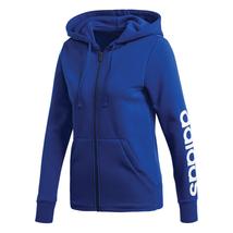 Adidas Women's Essentials Linear Full-Zip Hoodie - Blue - $27.50