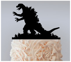 Wedding,Birthday Cake topper,Cupcake topper,silhouette Godzilla Package ... - $20.00