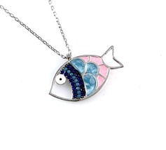 Women's Sterling Silver Tiny Fish with Cubic Zirconia Pendant Necklace 1... - $25.90