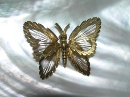 Vintage MONET Signed Goldtone BUTTERFLY with Thin Wire Wings Pin Brooch ... - $12.19