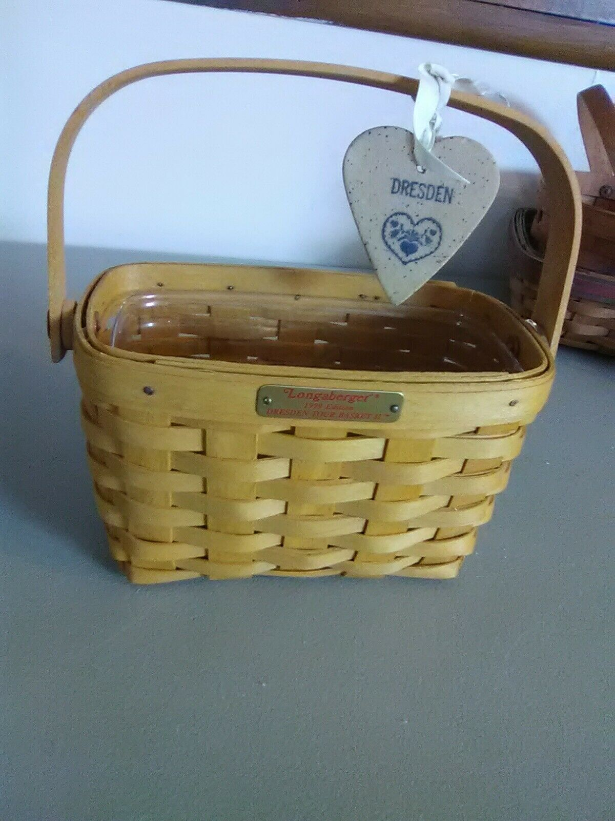 Longaberger Dresden Tour Basket II - 1999 Edition - Swing Handle w Protector