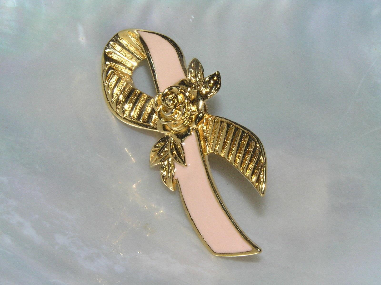 Estate Avon Signed Pink Enamel & Goldtone Breast Cancer Ribbone with Rose Flower