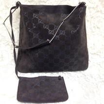 fa36ebe93e87 Gucci Italy, Monogram Brown Suede Leather Handbag n Coin Purse 13in x 11.