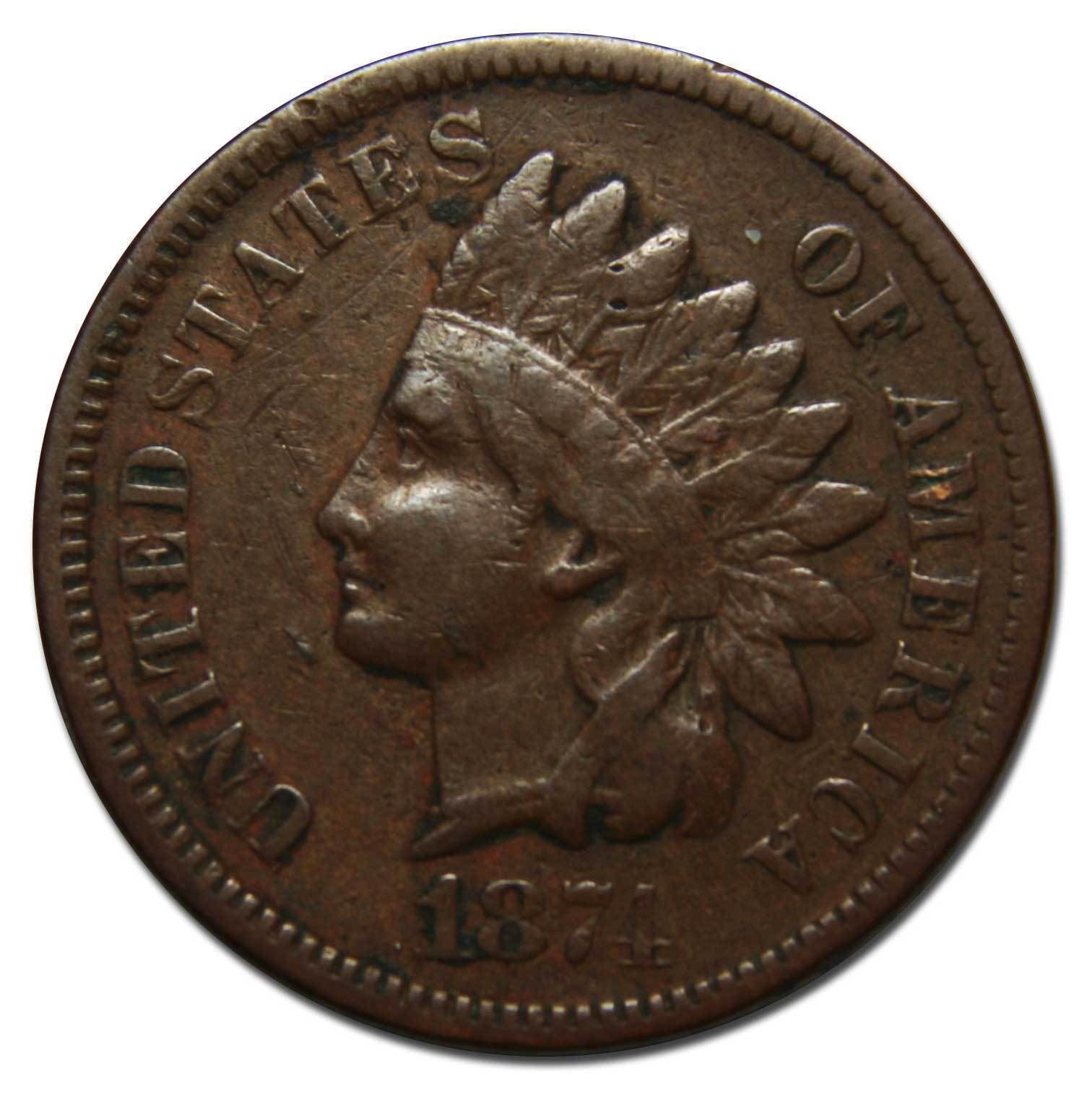 1874 One Cent Indian Head Penny Coin Lot# A 2191