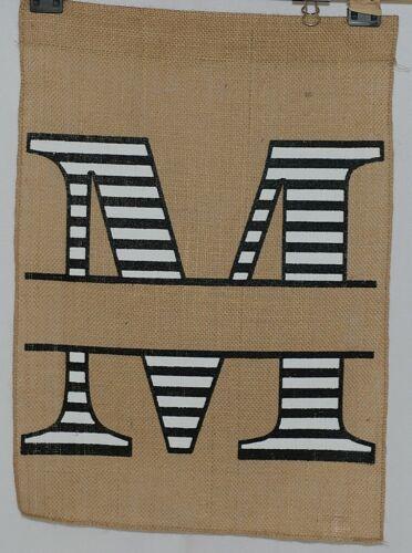 Kate Winston Brand Brown Burlap Monogram Black White M Garden Flag