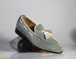 Handmade Men's Grey Suede Slip Ons Loafer White Tassel Shoes image 1