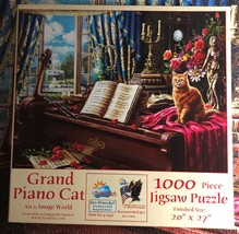 Jigsaw Puzzle 1000 Pieces SunsOut Grand Piano Cat by Image World 20 x 27 inches  - $9.00