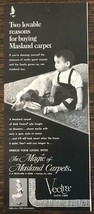 1968 Masland Carpets PRINT AD Two Lovable Reasons Boy & His Dog Vectra O... - $11.01