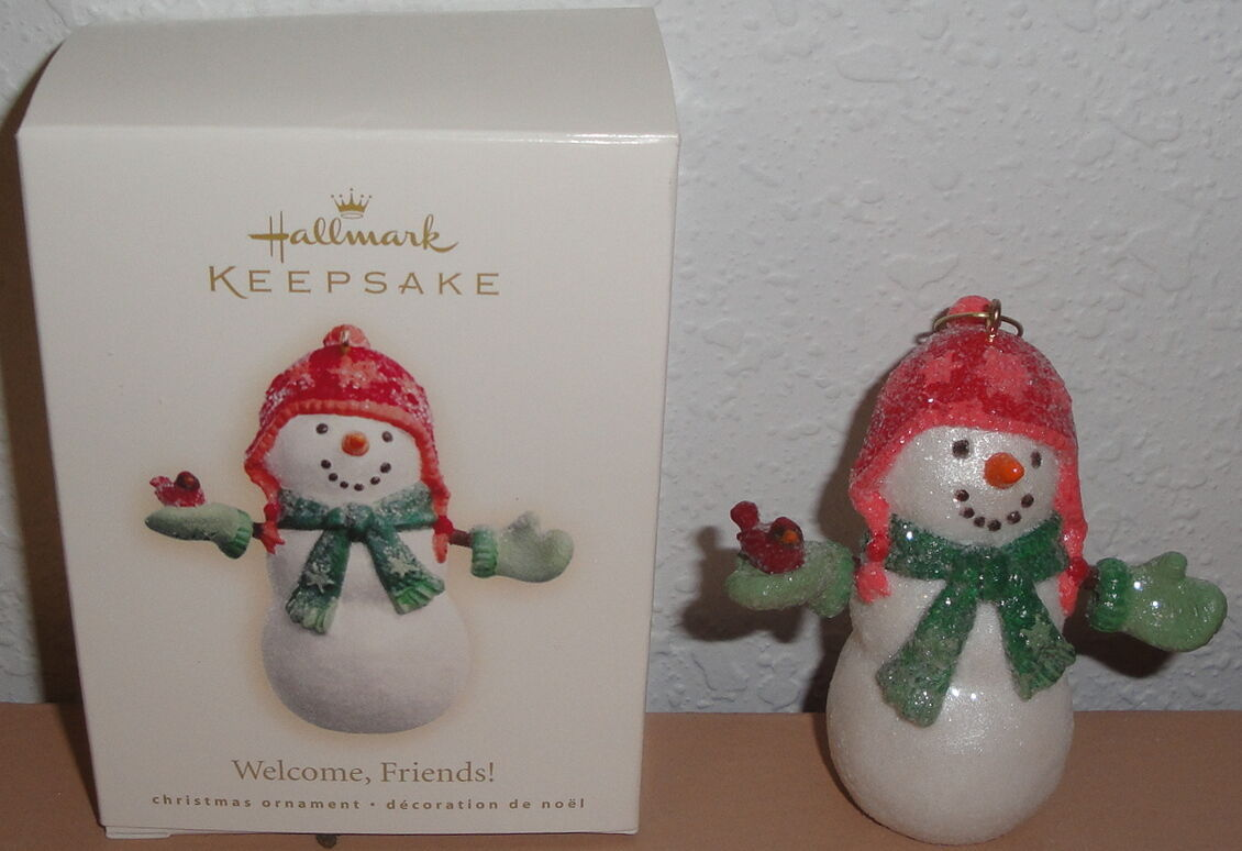 Primary image for 2007 HALLMARK ORNAMENT - Welcome Friends Snowman Box Christmas Sickman Snowmen