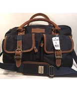 Field & Stream Navy Travel Bag Brown Leather Trim NWT - $64.01
