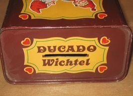 DUCADO SOLINGEN Vintage Old Coin Tin Box 2 Dwarfs Elves Dancing Stamped Germany image 3