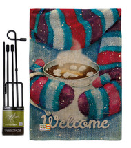 Mittens and Cocoa Burlap - Impressions Decorative Metal Garden Pole Flag... - $33.97