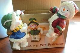 "Set of 2 Vintage Christmas Lamp & Pot Perchers Giftco Inc Santa 2 1/4"" - $11.85"