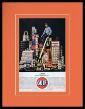 1963 Gulf Oil Gas Framed 11x14 ORIGINAL Vintage Advertisement - $41.71
