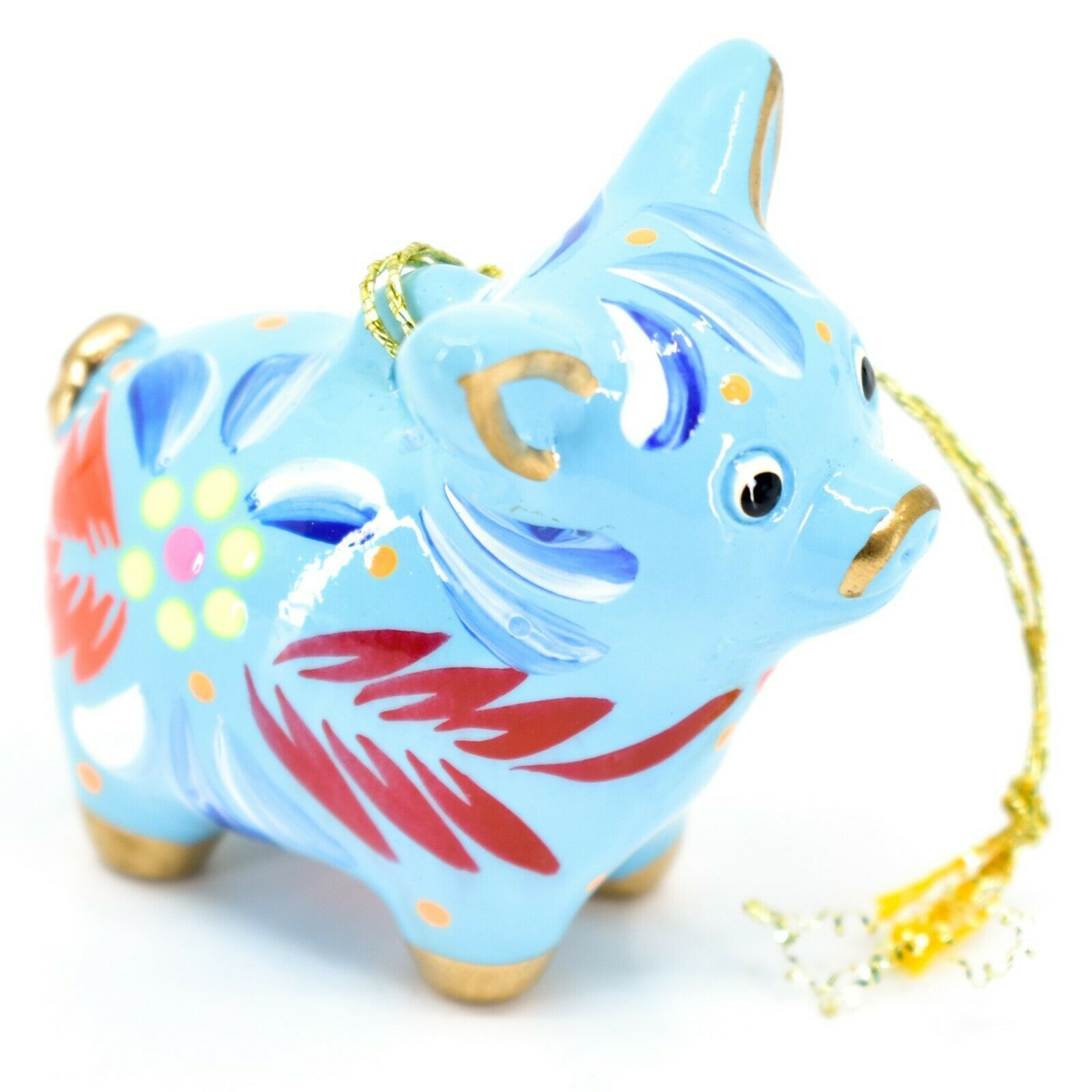 Handcrafted Painted Ceramic Blue Pig Confetti Ornament Made in Peru