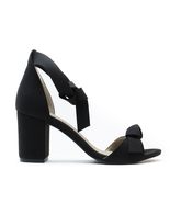 Vegan Sandal Middle Chunky Block Heel Peep Toe Ankle-Strap Knot Black Ca... - $118.84