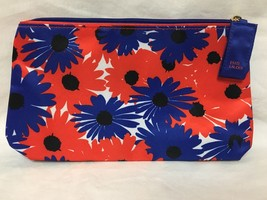 Estee Lauder Blue and Red Floral Print Cosmetic Bag - $4.99