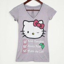 Hello Kitty Christmas Tshirt Juniors XS Gray Santas List Graphic Tee V N... - $14.99