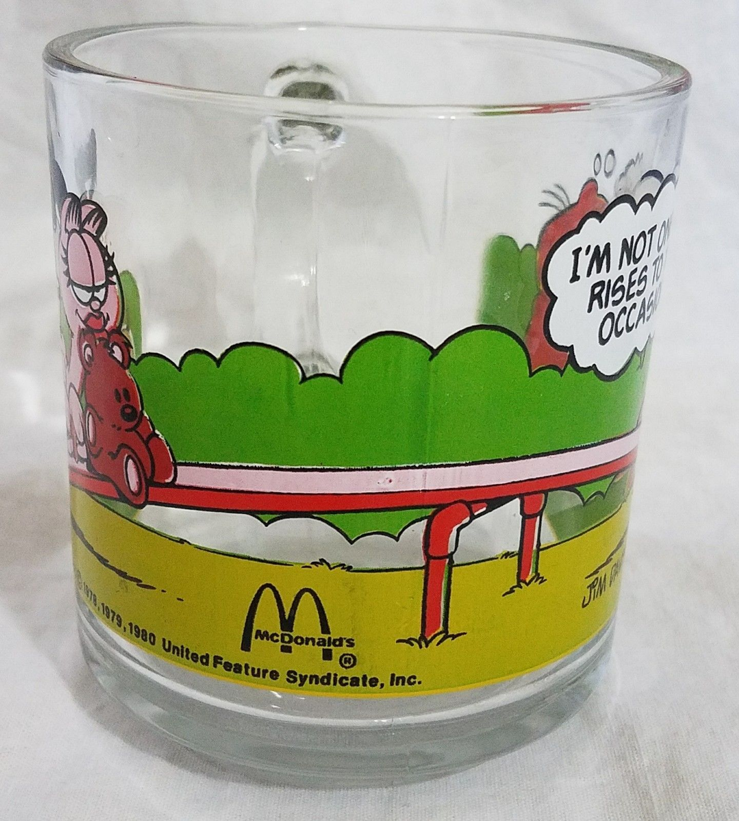 Garfield & Odie McDonalds Promo Glass Coffee Cup Mug 1978 Jim Davis