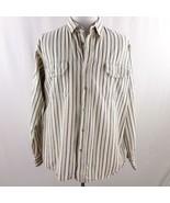 Haband Khaki Striped Denim Long Sleeve Button Front Shirt Mens Sz XL - $24.18