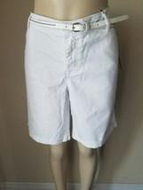 NWT Apt 9 Women's White Belted Essentials Modern Fit Bermuda Shorts 18 - $22.50