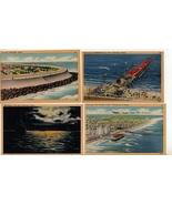 Lot of 4 Galveston TX Texas Vintage Era Linen Postcards Moonlight on The... - $10.00