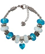 Blue Charm Bracelet With European Bead Charms For Girls, Stainless Steel... - $34.82