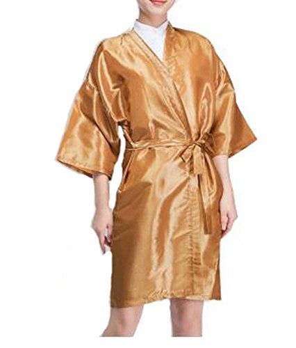 Salon Client Gown Upscale Robes Beauty Salon Smock for Clients, Gold