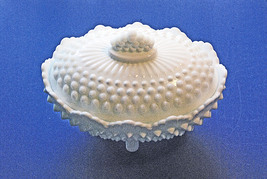 Fenton Vintage Hobnail White Milk Glass Covered and Footed Candy Bowl - $14.00