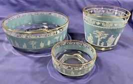 JEANNETTE GLASS Hellenic Blue & White Wedgewood Jasperware Style Bowls - $20.32